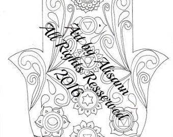 CHAKRA Hamsa Coloring Page - Instant Download - Digital coloring page