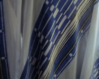 Vintage fine devore silk velvet dress/skirt length fabric art deco geometric design check/stripes 1920s