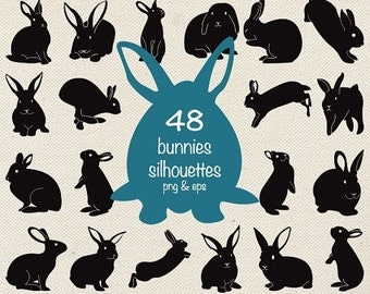 70% Sale Bunnies Silhouette Clip Art, Easter Bunny vector silhouettes, rabbit clip art, invitations, design, photograph, EPS - Instant Downl