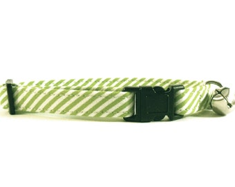 Cat or Small Dog Collar Green Stripes