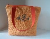 "Orange ""Tennessee"" tote bag with monogram- custom tote bag"