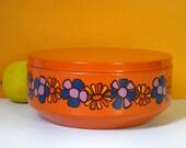 Vintage cookie tin, orange, floral, 1970s, Brabantia, Dutch kitchen storage