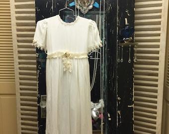 Vintage Wedding Flower Girl Dress Communion Dress Little Girl Party Dress White Vintage Dress Made in the USA