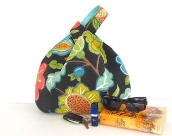 Knitting Bag, Women's Japanese Knot Handbag, Project Bag, Gift for Knitters - Blueberry,  Orange on Black