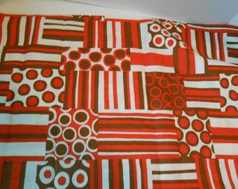 S A L E vintage mid century geometric print fabric 44 wide  1/2 yard