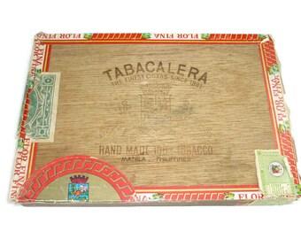 Vintage Tabacalera Wooden Cigar Box Empty