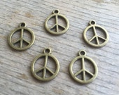 DIY Jewelry - Bronze Peace Sign Charm - 5 Pieces - Destashing - Jewelry Findings and Supplies - Bronze Components