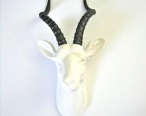 WHITE-GUNMETAL Faux Taxidermy Antelope wall mount wall hanging home decor // farm house decor / metallic / gift guide / gazelle / nursery