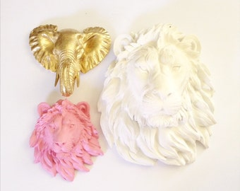 Set of 3: YOU PICK your COLORS 1 Large Faux Lion Head and 2 small animal head wall mount wall hangings / office / nursery decor / kids room