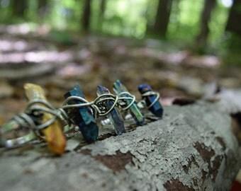 Crystal ring / raw crystal ring / crystal ring / boho ring / bohemian jewelry / raw stone ring / boho crystal jewelry / gypsy ring /