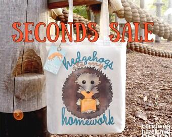 SECONDS SALE Hedgehogs Ate My Homework Tote Bag