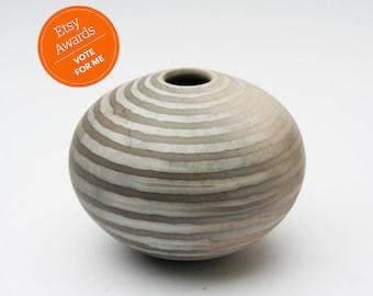 Striped Ceramic Vessel - Sawdust Fired
