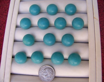 """Set of 14 Vintage Turquoise Ball Buttons 1/2""""  Aqua Buttons"""