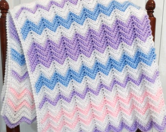 Baby Blanket Crochet Pattern, Pastel Chevron, Ripple Afghan, Crib Blanket Pattern