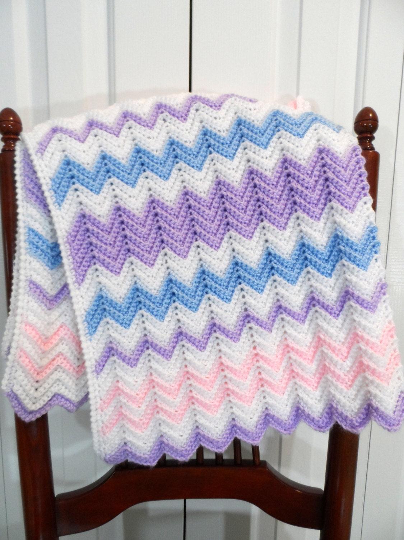 baby blanket crochet pattern pastel chevron ripple afghan. Black Bedroom Furniture Sets. Home Design Ideas