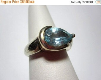ON SALE Blue Topaz Ring in Sterling Silver and 14K Gold