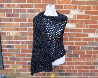Ariel Lace Black Shawl Hand knit Handmade Wrap XL