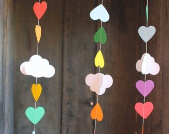 Rainbow Garlands, Rainbow Party Decorations, Rainbow Party Garlands, Cloud Garland, Paper Garland, Clouds and Hearts, 10 feet long