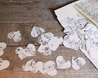 Book Page Confetti, Wedding Confetti, Heart Shaped Confetti, Book Page Table Scatters, Vintage Music Sheet Confetti, Package of 200