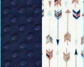 Gold Navy Arrow Blanket Cotton Minky backing 19 colors Carseat Blanket Crib Blanket Minky Blanket