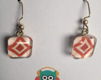 Red and White Glass Earrings