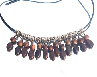Picasso Jasper Tigers Eye Wood Beads Genuine Leather Fringe Artisan Pendant Chain Necklace Gemstone Boho Hippie Gypsy Burning Man Zen