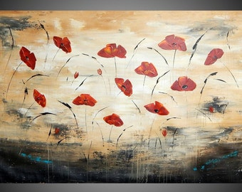 Painting Art Paintings Acrylic Painting Wall Art Canvas Art Abstract Painting Brown Beige Poppies Flower UNFRAMED ARTWORK 60 x 34 by ilonka