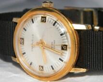 SALE - Vintage Caravelle by Bulova Waterproof Fancy Bezel 14K Gold Filled Watch