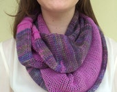 Infinity scarf knit with colorful soft pure merino wool. Double side cowl,orchid lilac and green, light blue and purple hand dyed yarn