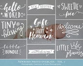 Newborn Photo Overlays vol.1 - newborn word art, photography overlays for Photoshop, for newborn photographers