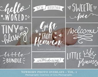 Newborn Photo Overlays vol.1 - newborn word art, photography overlays for Photoshop, for newborn photographers