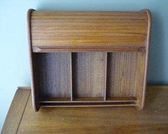 Vintage Teak Roll Top Desk Organizer, Mid Century Modern Office Decor