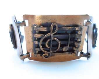 Vintage Copper Musical Note Bracelet Vintage Copper Jewelry Musical Instrument Music Notes