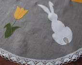 Small round Easter tablecloth organic gray washed linen and off white lace tea time table topper with bunny and tulips