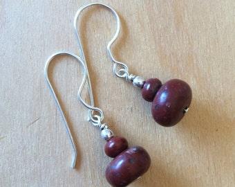 Red Jasper Beaded Earrings on Sterling Silver All Handmade