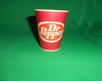 """One (1),  2 3/4"""". Dr. Pepper, Waxed Paper, Sampling Cup, from the Sweet Heart Cup Co."""