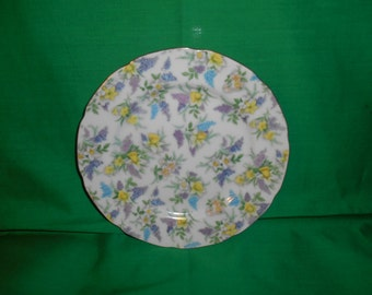 "One (1), 7 1/4"" Porcelain Salad Plate, from Lefton China, inthe Lilac Chintz 701 Pattern."
