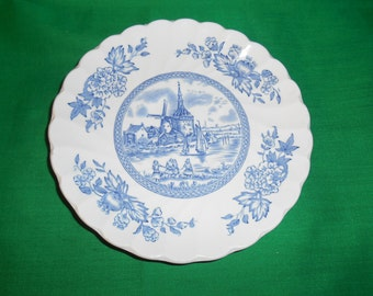 """One (1), 5 3/4"""" Tea Cup Saucer, from Johnson Bros., in the Tulip Time, Blue - White Background Pattern.         Pattern."""