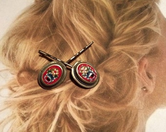 SALEWindyDays Decorative Hair Pins Jewelry Decorative 1930's Red Micro Mosaic Hairpins Bobby Pins
