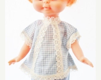 """ON SALE Vintage Hong Kong 11"""" Doll, Plastic, Carrot Red Hair, Green Eyes, Blue & White Check Top Matching Blue Pants Tagged Hong Kong, Colle"""