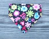 Small Slip On Dog Bandana Reversible Dog Bandana Dog Accessories Dog Scarf Pink Peace Print Dog Bandana