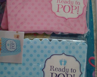 She's About to Pop Baby Shower Theme; Gender Reveal Baby Shower Favor Boxes; Ready to Pop Favor Popcorn Boxes; Blue or Pink Baby Shower deco