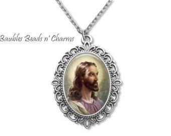 Christian Pendant Necklace, Jesus Necklace, Religious Necklace Jewelry, Jesus Pendant Necklace, Christian Necklace, Catholic Jewelry
