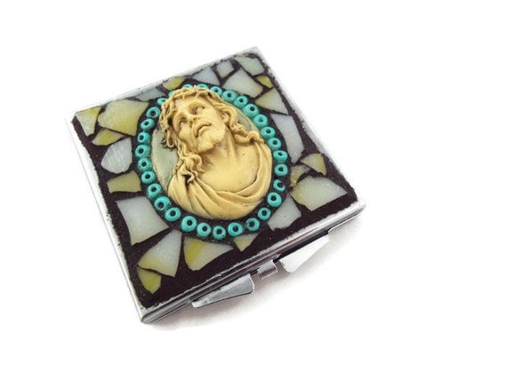 Mosaic Jesus Make Up Mirror Square Double Sided Mirror Hand