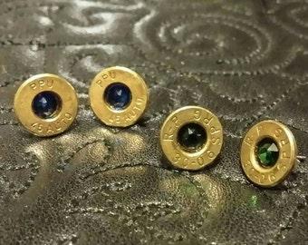 Recycled Bullet Casing Earrings, Swarovski Crystal, Bullet Jewelry