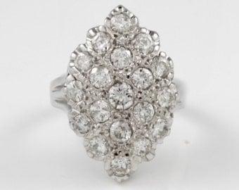 Women's, Antique, Estate, 14K, Gold, White Gold, Estate, Cluster, Diamonds, Navette, Dinner, Ring