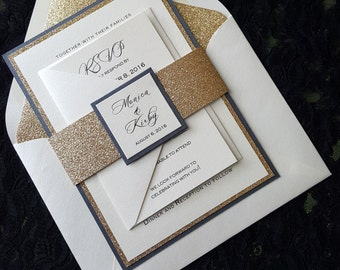 Glitter Wedding Invitation, Gold Glitter Wedding  Invitation,  Elegant Wedding Invitation, Gold Wedding Invitation, Wedding Invitation