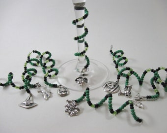 Green & Black Halloween Beaded Spiral Wine Glass Charms 8 Piece Set