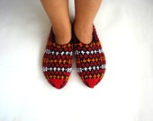 knit slippers, orange red black white Turkish Knitted Socks Slippers, woman slippers, gift for wife granma woman gifts under 25 usd