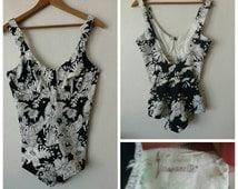 1960s MOD Flower Power Beach Resort Vassarette Bathing Suit Swimsuit Swimwear Union made Made in the USA
